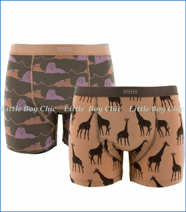 Kickee Pants, Boxer Briefs (Set of 2)  in Lions & Suede Giraffes