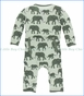Kickee Pants, Coverall with Zipper, Aloe Elephants Print  in Green