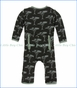 Kickee Pants, Coverall with Zipper, Zebra Acacia Trees Print  in Black