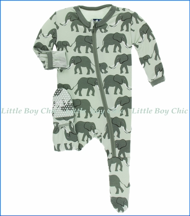 Kickee Pants, Footie with Zipper , Aloe Elephants Print  in Green