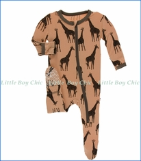 Kickee Pants, Footie with Zipper, Suede Giraffes Print  in Beige
