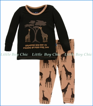 Kickee Pants, Long Sleeve  PJ Set , Falcon Giraffe Print  in Beige