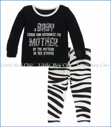 Kickee Pants, Long Sleeve  PJ Set , Natural Zebra Print  in Black