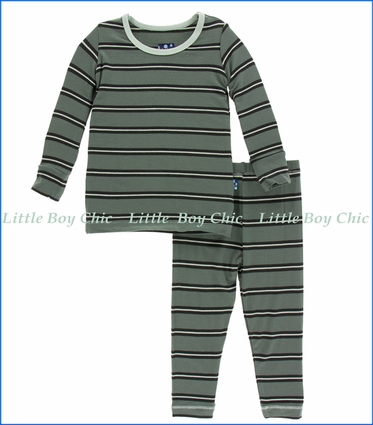 Kickee Pants, Long Sleeve  PJ Set , Succulent Kenya  Stripe Print  in Green