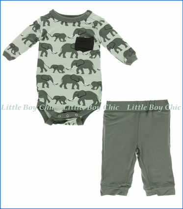 Kickee Pants, LS One Piece & Pant Outfit Set, Aloe Elephants Print    in Green