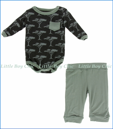 Kickee Pants, LS One Piece & Pant Outfit Set, Zebra Acacia Trees Print    in Black
