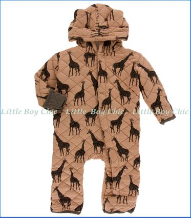 Kickee Pants, Print Quilted Hoodie Coverall with Sherpa-Lined Hood  in Multicoloured