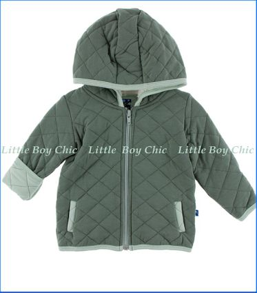 Kickee Pants, Solid Quilted Jacket with Sherpa-Lined Hood  in Green