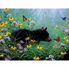 Black Bear and Butterflies - 500pc Jigsaw Puzzle by Sunsout