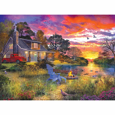 Evening Cabin - 1000pc Jigsaw Puzzle By White Mountain NEW