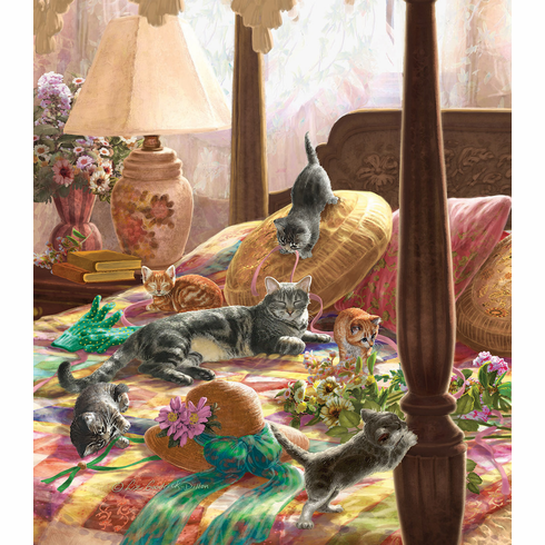 Kittens on the Bed - 550pc Jigsaw Puzzle by Sunsout