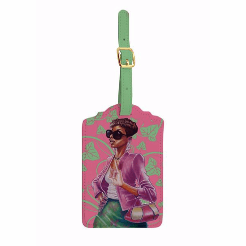 LT08 Pink and Green Luggage Tag Set