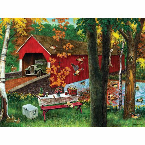 Picnic by the Bridge - 500pc Jigsaw Puzzle by SunsOut