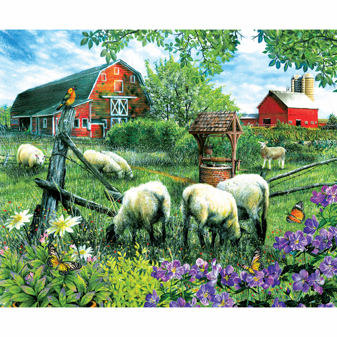 Pleasant Valley Sheep Farm - 1000pc Jigsaw Puzzle By Sunsout