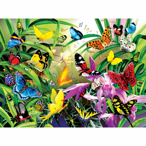 Tropical Butterflies - 1000pc Jigsaw Puzzle by Sunsout