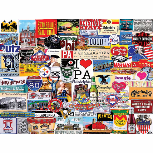 "White Mountain 1000 Piece Jigsaw Puzzle- ""I LOVE PENNSYLVANIA"""