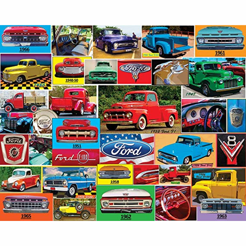 White Mountain Puzzles Classic Ford Pickups - 1000 Piece Jigsaw Puzzle