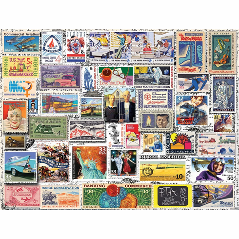 White Mountain Puzzles Classic Stamps - 550 Piece Jigsaw Puzzle
