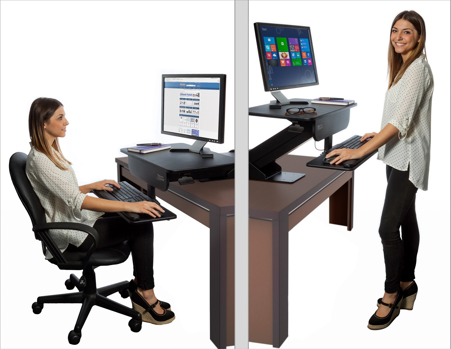 Adjustable height gas spring easy lift standing desk sit stand up desk computer workstation