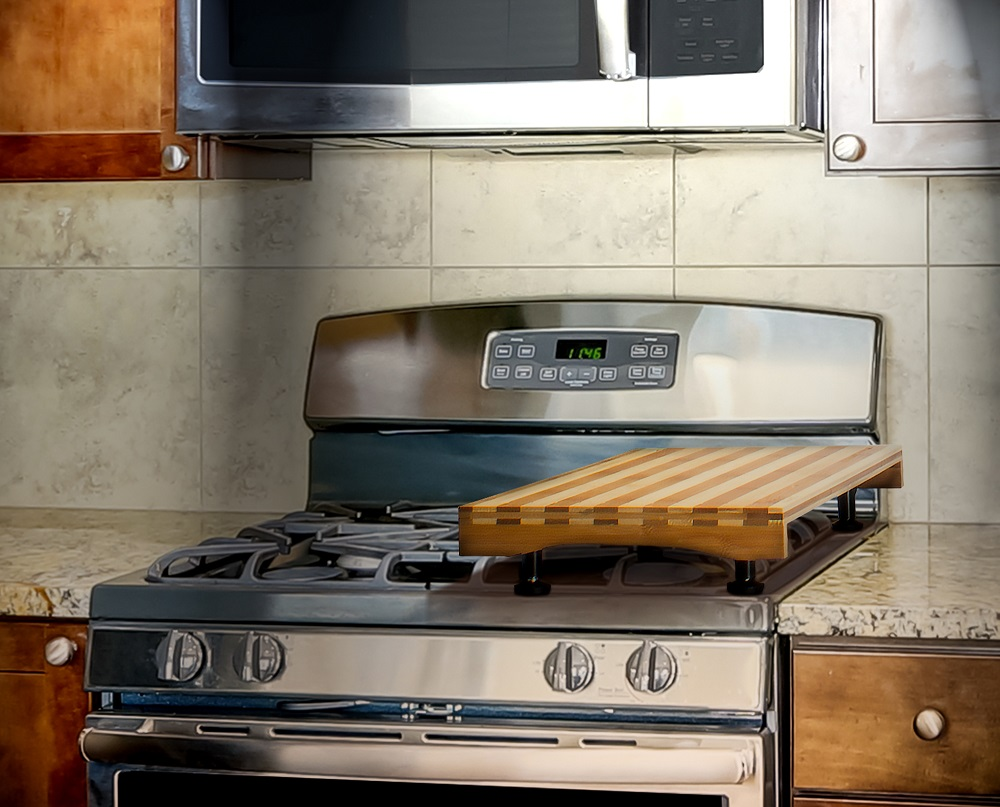 Dual Purpose Bamboo Stovetop Cover Worke And Countertop Cutting Board With Adjule Legs