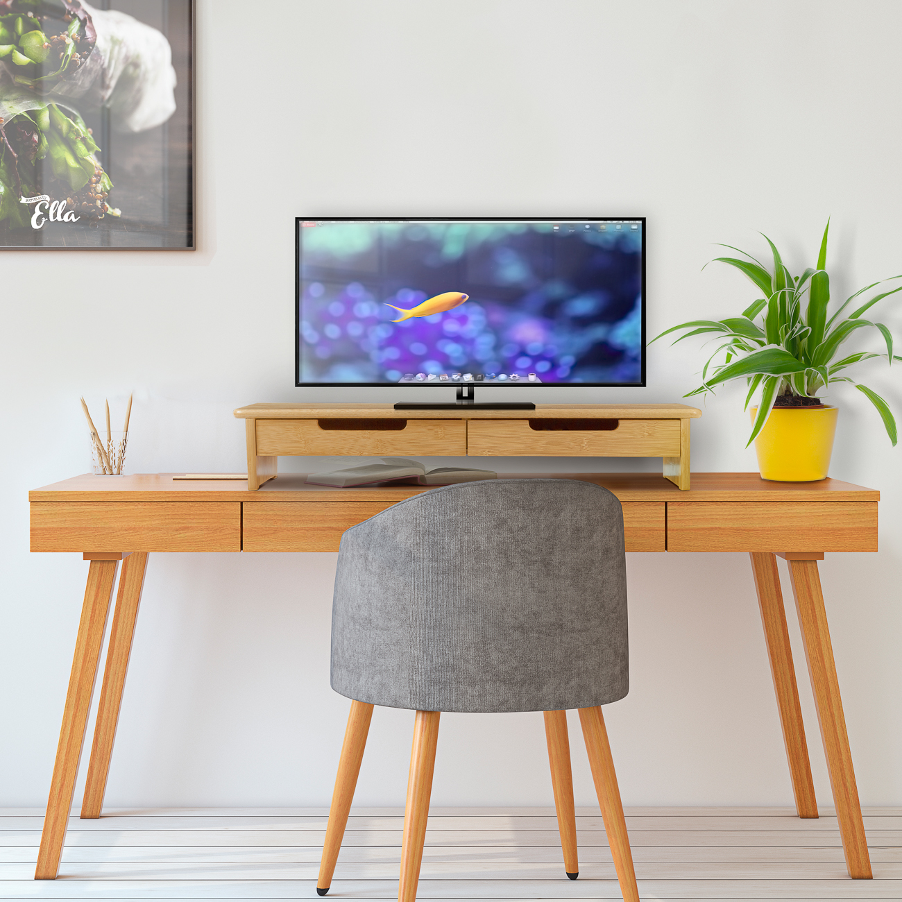Bamboo Tv Monitor Stand And Riser With Dual Pull Out Drawers