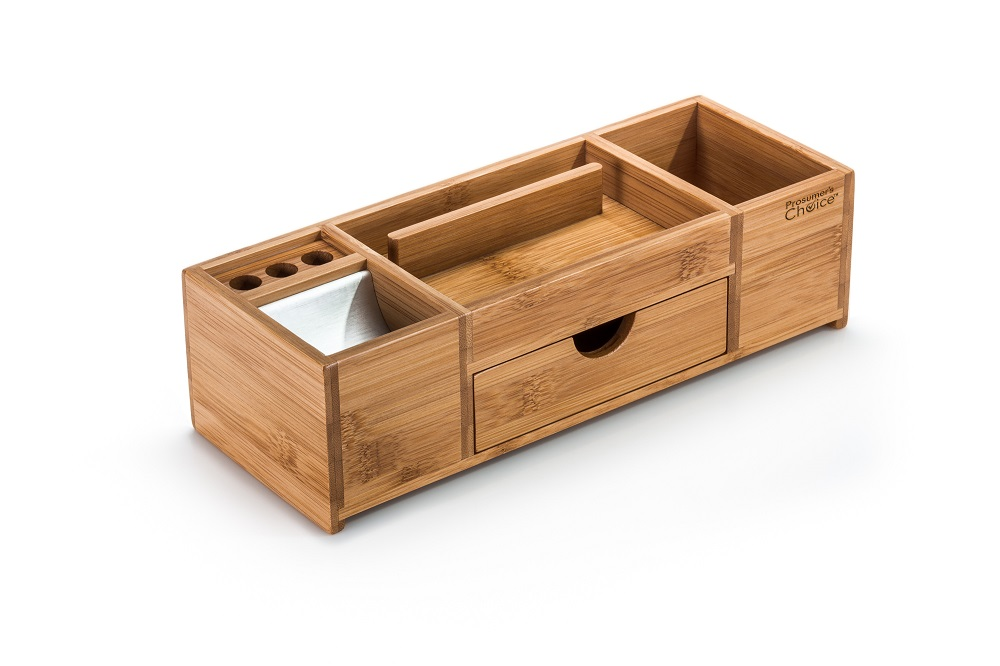 Bamboo Office Caddy and Desk Organizer - Prosumer\'s Choice