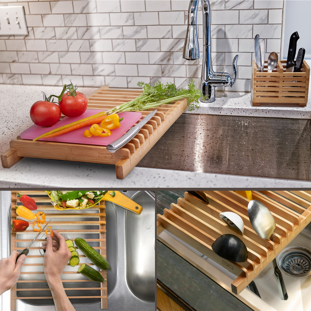 Prosumer S Choice Bamboo Over The Sink Kitchen Dish Drainer Drying Rack With Removable Utensils Holder