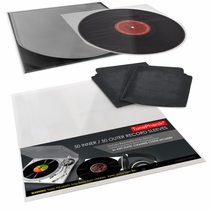 Clear 12-Inch Vinyl Record Sleeve Set, Incl. 2 Cleaning Cloths, 100 pieces (50 Inner/Outer)