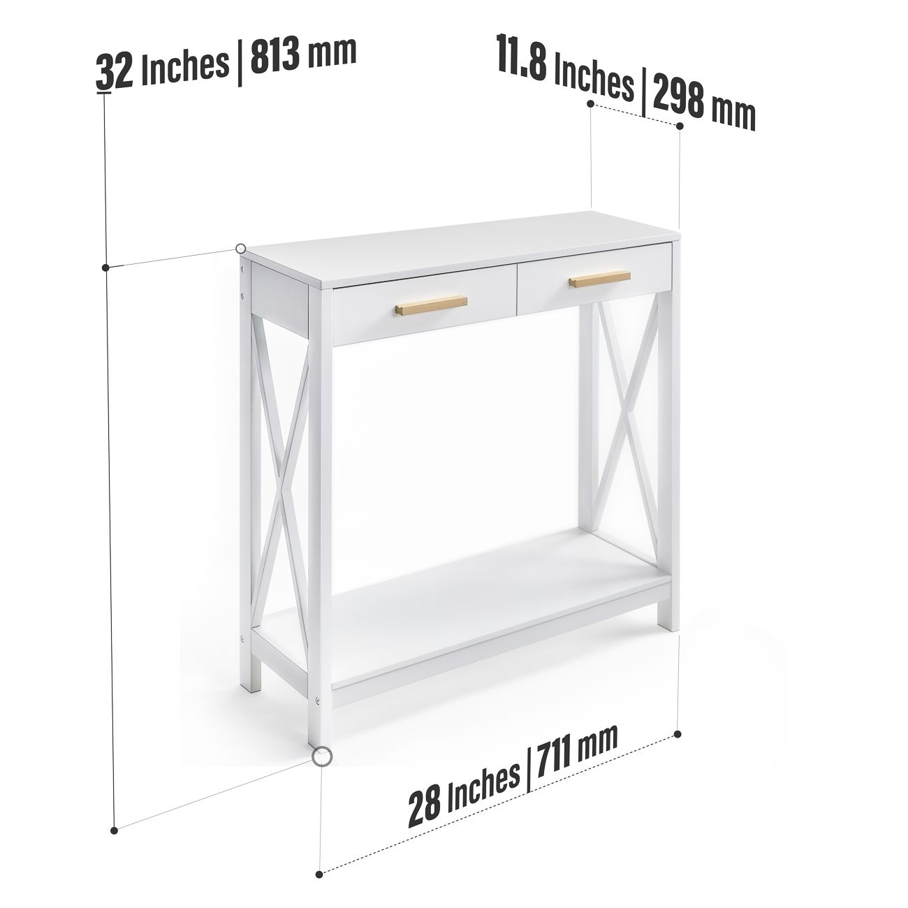 Narrow Sofa Table With Drawers: Modern Entryway Console, Narrow Sofa Table W/ Single