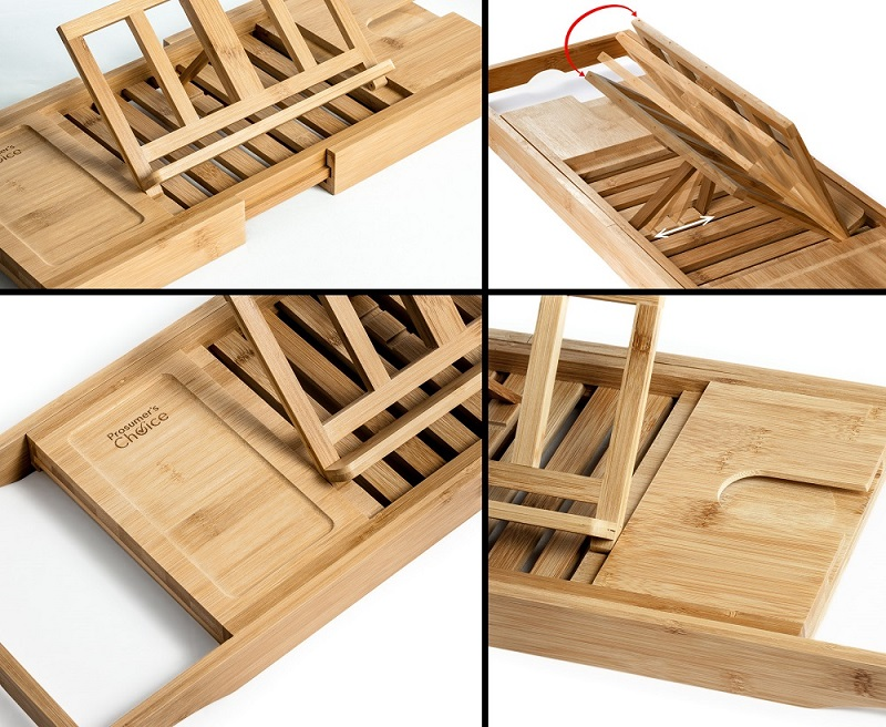 Natural Bamboo Bathtub Caddy Tray Organizer With Book, Tablet, Phone ...