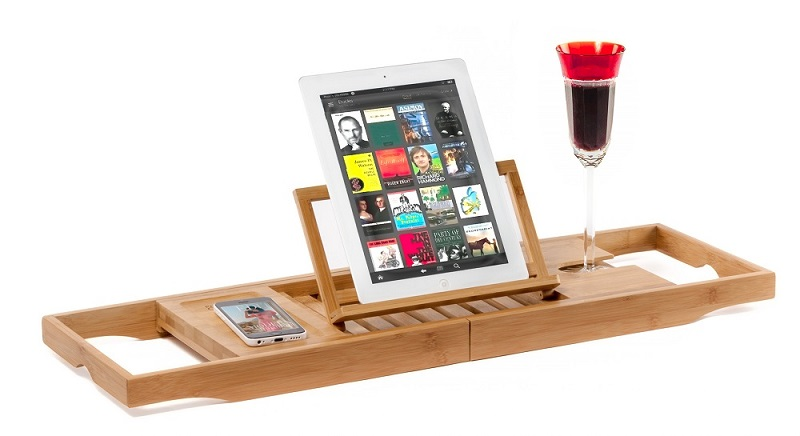 Natural Bamboo Bathtub Caddy Tray Organizer With Book Tablet Phone