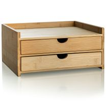 Prosumer's Choice 2-Tier Bamboo Desktop Organizer with 2 US Letter Size Drawers