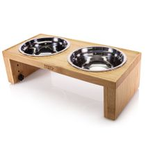 Prosumer's Choice Bamboo Adjustable Height Dog Bowls and Stand - 4.7 to 7.7 Inches Tall