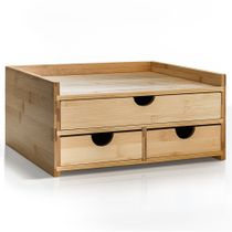 Prosumer's Choice Bamboo Desktop Organizer with 3 Drawers and US Letter Size Paper Tray