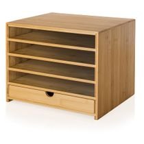Prosumer's Choice Bamboo Four Cubby Paper Letter Tray Organizer with Single Drawer