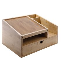 Prosumer's Choice Bamboo Office Telephone Stand and Desk Organizer with Tray