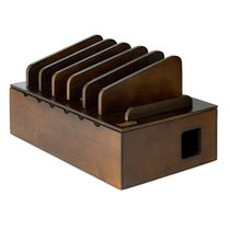 Prosumer's Choice Bamboo Tablet Charging Station With Adapter Storage - Brown