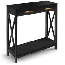 Prosumer's Choice Black Entryway Console, Narrow Sofa Table w/ Single Drawer Storage