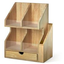 Prosumer's Choice Four Cubby Tray Home Office Desktop Organizer with Pull-Out Drawer