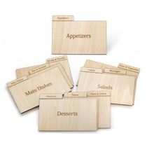Real Wood Recipe Organizer Categorized by Specialty, for 3x5 Inch Cards