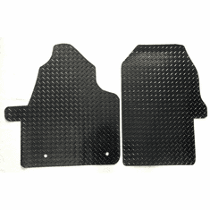 Black All-Weather Rubber Diamond Plate Floor Mats-Fits 2019-2021 Mercedes Benz Spr