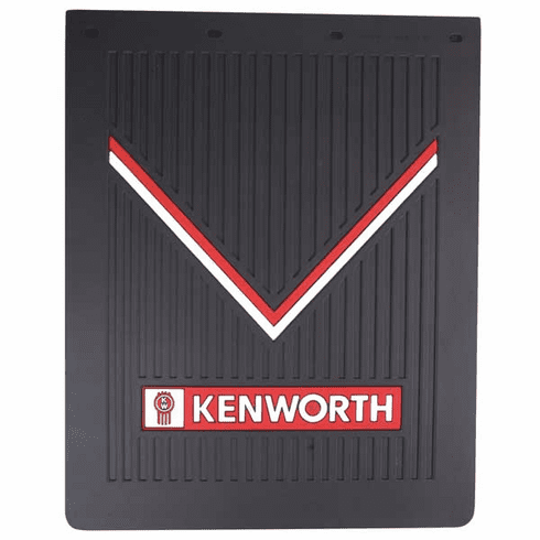 "Kenworth OEM Mudflap - Black Rubber with Red & White Logo - 30"" x 24""  (1) Flap"
