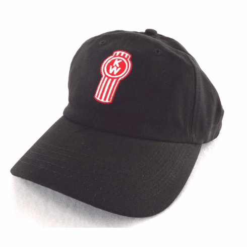 Kenworth Truck Black Ball Cap w/ Red/White Logo 100% Cotton Adjustable Size NEW
