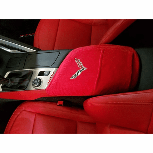 Seat Armour Console Cover w/ C7 Corvette Logo - Red - Fits 2014-2019