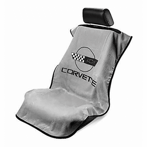 Seat Armour Seat Protector Cover/Towel w/ C4 Corvette Logo - Gray