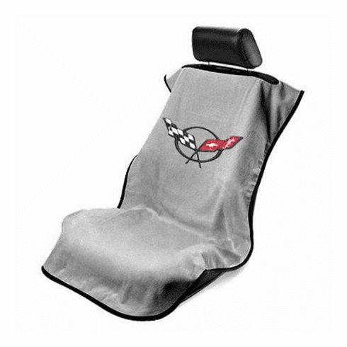 Seat Armour Seat Protector Cover/Towel w/ C5 Corvette Logo - Gray