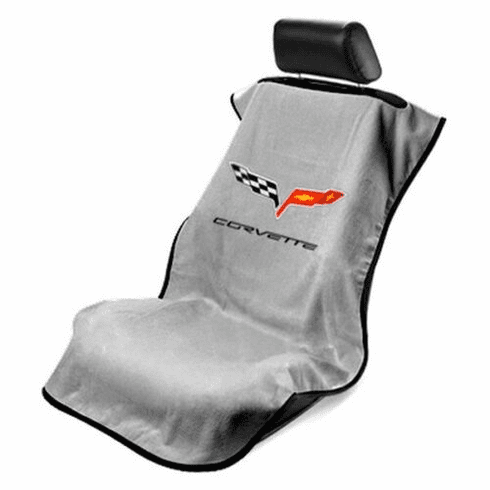 Seat Armour Seat Protector Cover/Towel w/ C6 Corvette Logo - Gray