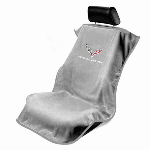 Seat Armour Seat Protector Cover/Towel w/ C7 Corvette Logo - Gray