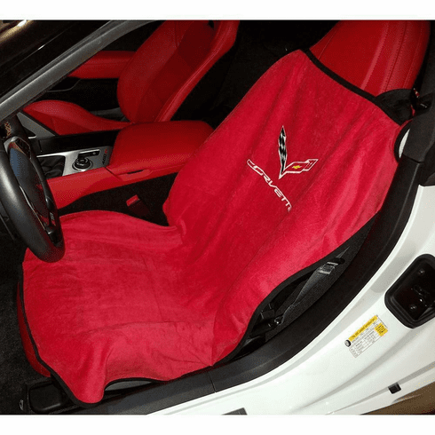 Seat Armour Seat Protector Cover/Towel w/ C7 Corvette Logo - Red