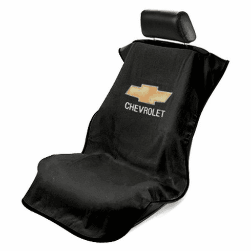 Seat Armour Seat Protector Cover/Towel w/ Chevy Bowtie Logo - Black
